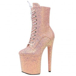 DELIGHT-20HG Pink Holographic Glitter 8 inch Heel Ankle Boots