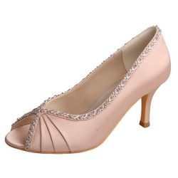 ELLEN-V672 Blush Crystal Pleated Peep Toe Heels