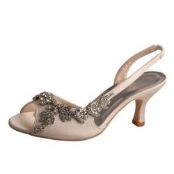 ELLEN-V131 Ivory Satin Crystal Sling Back Sandals