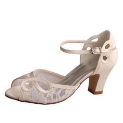 ELLEN-V759 Ivory Satin Lace Retro Block Heel Sandals Wedding Shoes