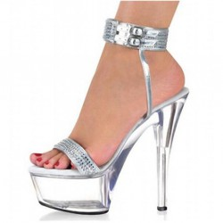 ALLURE-SC1505 Ankle Strap Silver/Clear