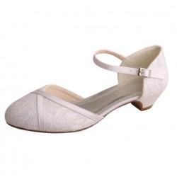 ELLEN-V018 White Satin Lace Mary Jane Open Side Low Heels Wedding Shoes