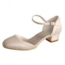 ELLEN-V819 Ivory Satin Mary Jane Open Side Low block Heels Wedding Shoes