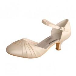 ELLEN-V080 Ivory Satin Mary Jane Pleated Round Toe Open Side Low Heels