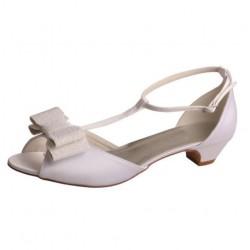 ELLEN-V807 White Satin Lace Bow T-Bar Low Heel Sandals Bridal Shoes