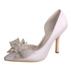 ELLEN-V809 Bridal Shoes White Satin Lace Crystal Bow D'Orsay Pointy Pumps
