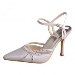 ELLEN-V284 White Satin Diamante Pointy Sandal Heels Wedding Shoes