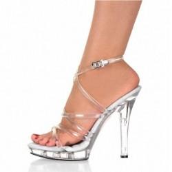 ADORE-SC1304 Wrap Around Straps 13cm Heel Sandals Clear/Clear